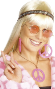 Ladies Pink Hippie Fancy Dress Costume Kit