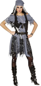Ladies Ghostly Pirate Fancy Dress Costume