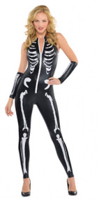 Ladies Sexy Skeleton Fancy Dress Jumpsuit