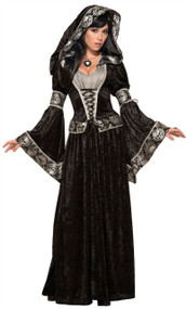 Ladies Dark Hooded Sorceress Fancy Dress Costume