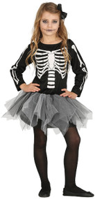 Girls Skelebones Fancy Dress Costume