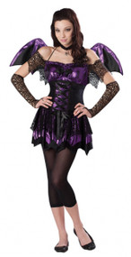 Girls Metallic Bat Fancy Dress Costume