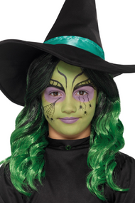 Girls Green Witch Fancy Dress Make Up Kit