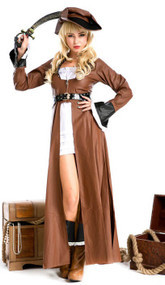 Ladies Deluxe Brown Pirate Fancy Dress Costume