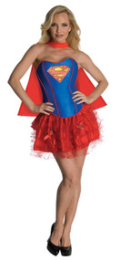 Ladies Supergirl Corset Tutu Fancy Dress Costume