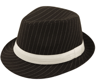 Adult Black Pinstriped Gangster Hat