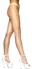 Ladies White Diamond Net Tights