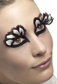 Ladies Brown/White Feather Eyelashes
