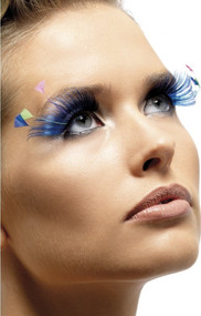 Ladies Blue Feather Plume Eyelashes