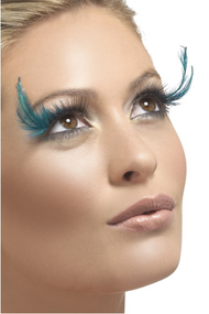 Ladies Black/Turquoise Feather Eyelashes