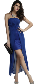 Ladies Blue Strapless Drape Back Dress