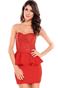 Ladies Coral Sequinned Peplum Dress
