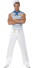 Mens French Sailor Fancy Dress Costume