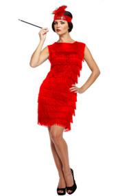 Ladies Red Flapper Fancy Dress Costume 3