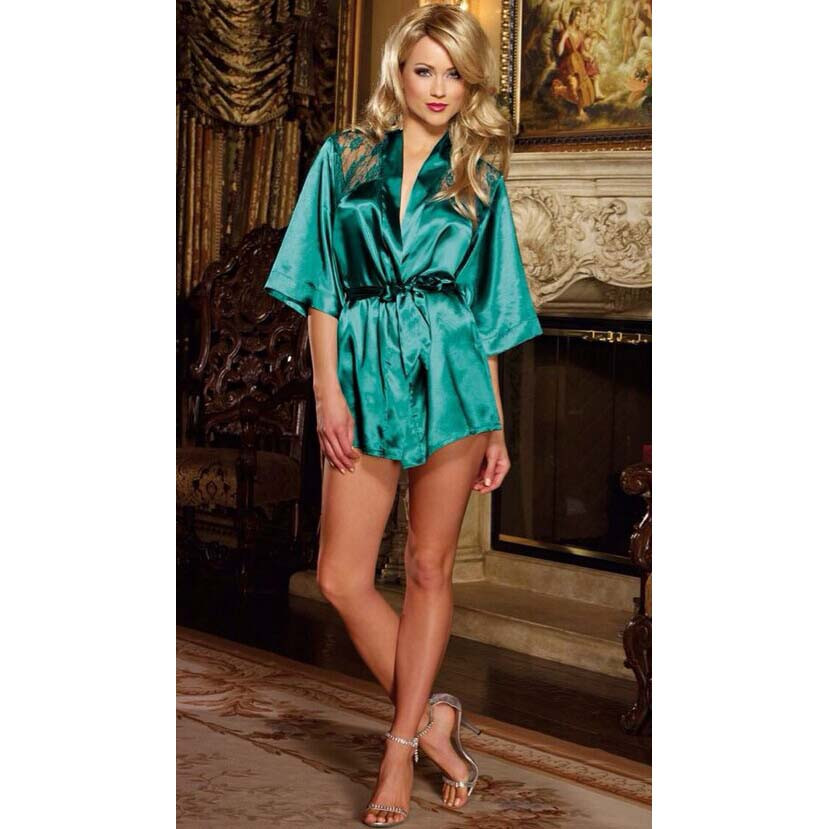 Ladies Green Satin Lace Back Dressing Gown - Fancy Me Limited