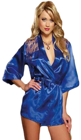 Ladies Blue Satin Lace Back Dressing Gown