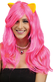 Ladies Long Pink Wig with Ears