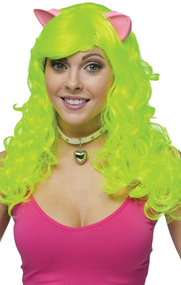 Ladies Neon Green Wig with Ears