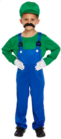 Boys Luigi Fancy Dress Costume 2