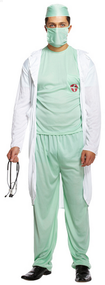 Mens Doctor's Scrubs Fancy Dress Costume