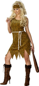 Ladies Crazy Cavewoman Fancy Dress Costume