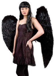 Ladies Extra Large Black Feather Wings