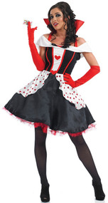 Ladies Longer Length Queen of Hearts Fancy Dress Costume