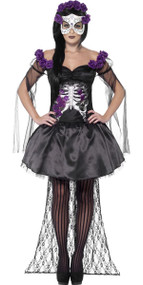Ladies Senorita Skeleton Fancy Dress Costume
