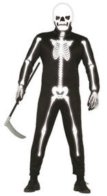 Mens Glow in the Dark Skeleton Fancy Dress Costume 2