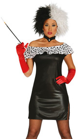 Ladies Dalmatian Villain Fancy Dress Costume