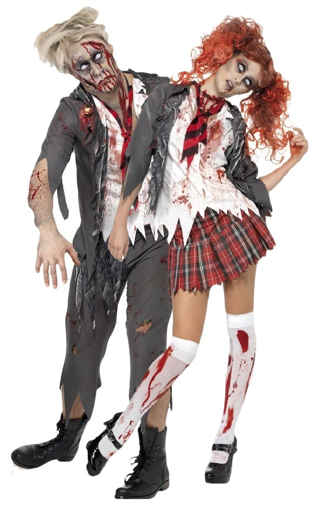 Couples Zombie School Girl  Boy Fancy Dress Costume -4709