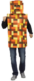 Mens Orange Pixel Robot Fancy Dress Costume
