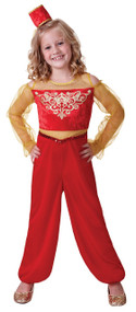 Girls Red Arabian Fancy Dress Costume