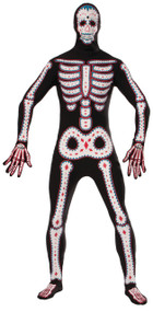 Mens Day of the Dead Jumpsuit Fancy Dress Costume