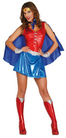 Ladies Wonder Hero Fancy Dress Costume 3