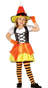 Girls Orange Pumpkin Witch Fancy Dress Costume