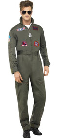 Mens Deluxe Top Gun Fancy Dress Costume
