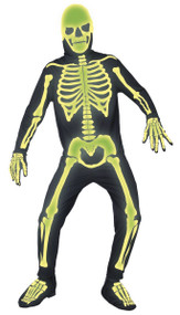 Mens Glow In The Dark Spooky Skeleton Fancy Dress Costume