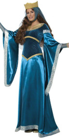 Ladies Blue Maid Marion Fancy Dress Costume