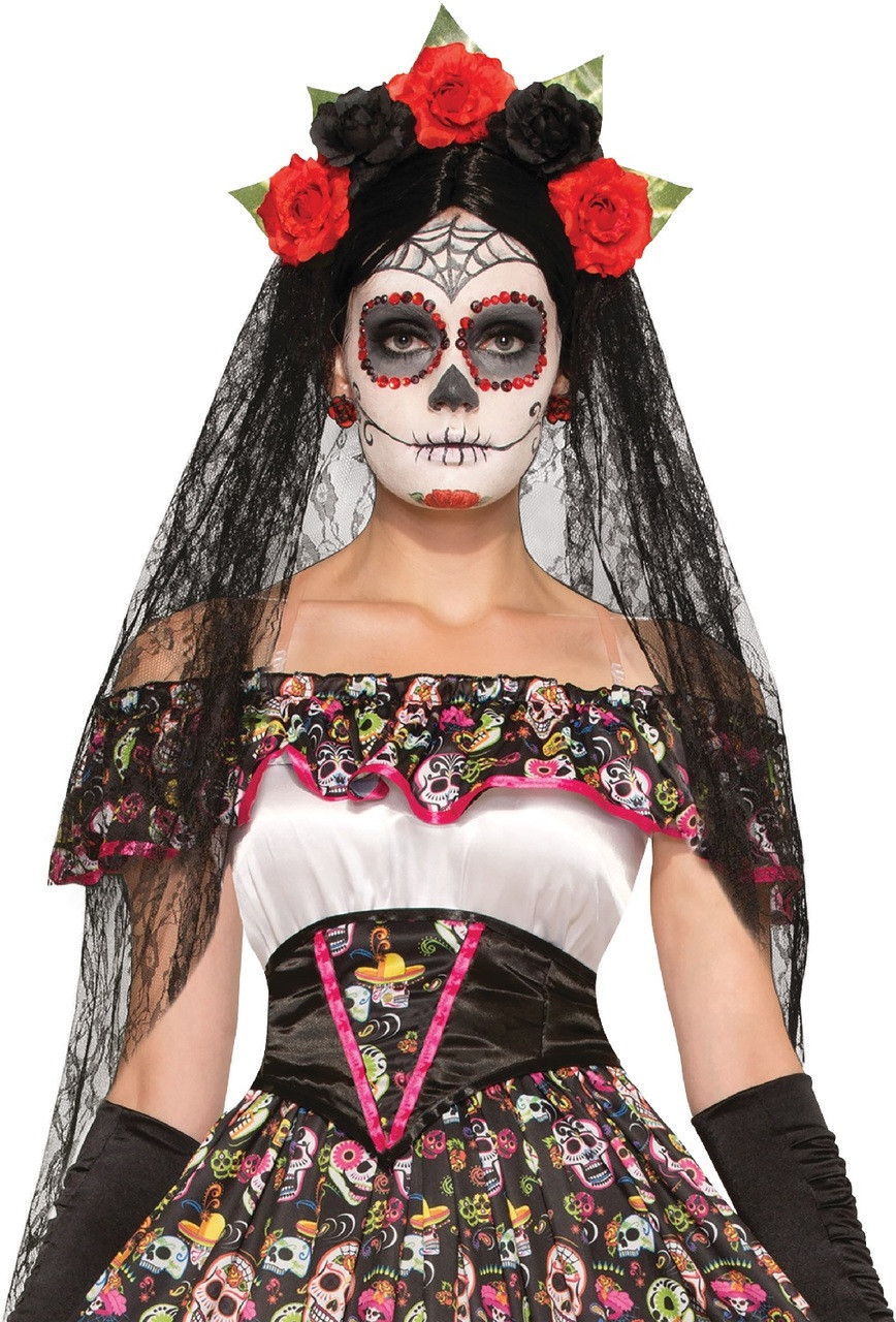 Ladies Day Of The Dead Halloween Veil - Fancy Me Limited