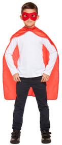 Child's Red Superhero Cape and Mask Fancy Dress Costume Kit
