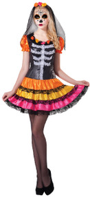 Ladies Rainbow Day Of The Dead Fancy Dress Costume