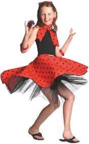 Girls 50's Red Rock and Roll Skirt Fancy Dress Costume