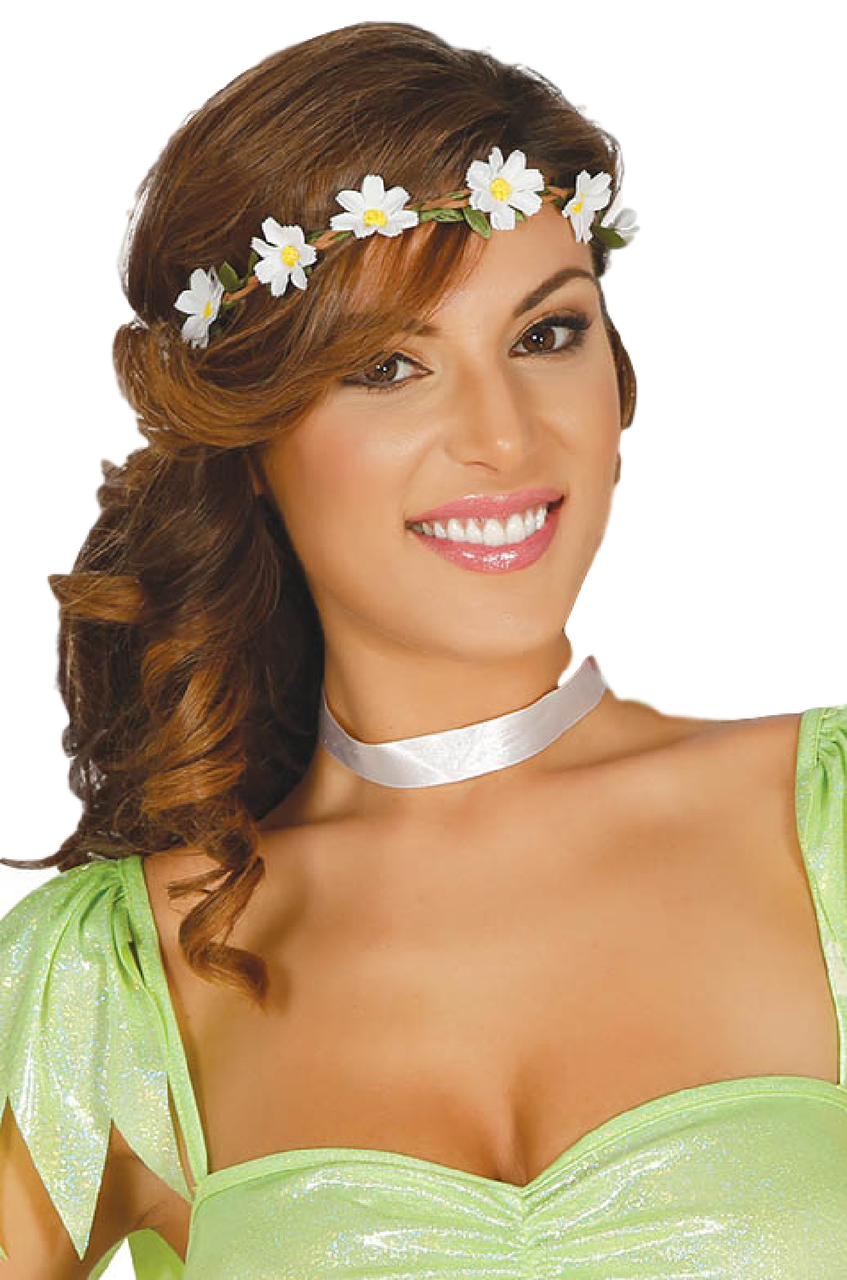 Ladies White Flower Crown Fancy Dress Accessory Fancy Me Limited