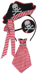Ladies Sequin Pirate Fancy Dress Costume Kit