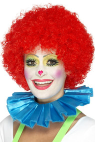 Adults Blue Clown Neck Ruffle Fancy Dress Accessory