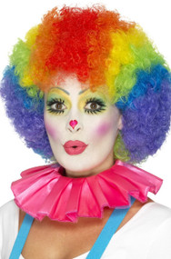 Adults Pink Clown Neck Ruffle Fancy Dress Accessory