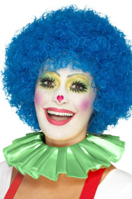 Adults Green Clown Neck Ruffle Fancy Dress Accessory