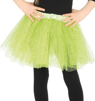 Girls Bright Green Glittery Fancy Dress Tutu