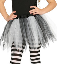 Girls White & Black Glittery Fancy Dress Tutu